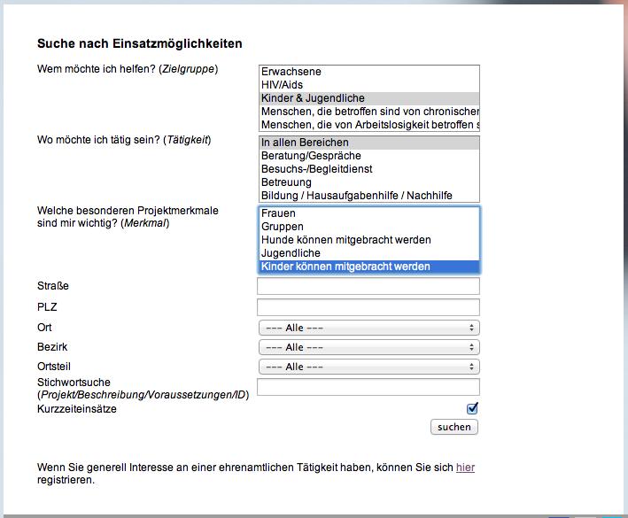 Suchmaske GuteTat.de für ehrenamtliche Tätigkeiten
