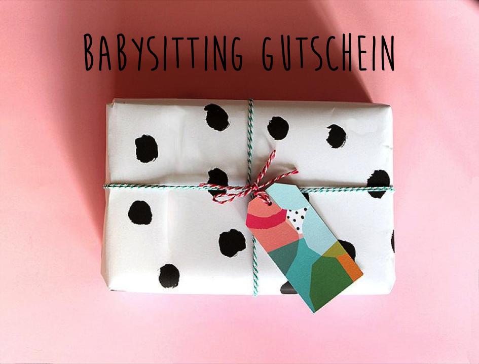 Babysitting Gutschein als Geschenk für werdende Mütter