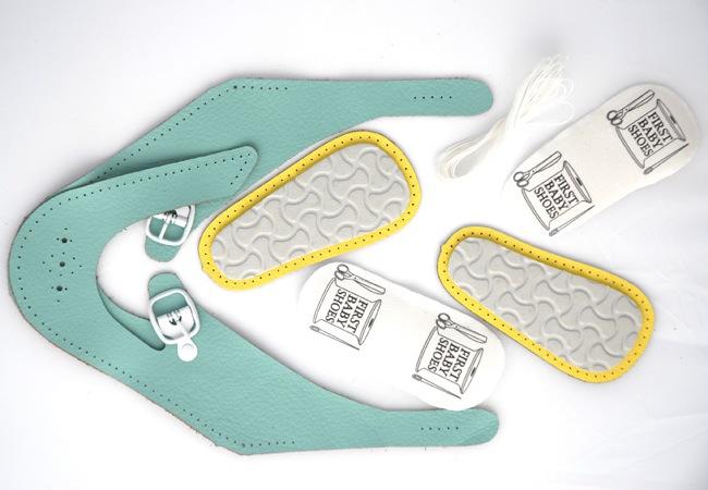Einzelteile des Oster Gewinnspiel mit handmade DIY First Baby Shoes
