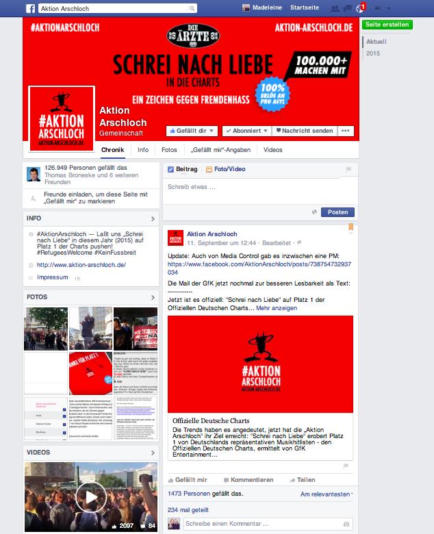 Aktion Arschloch auf Facebook