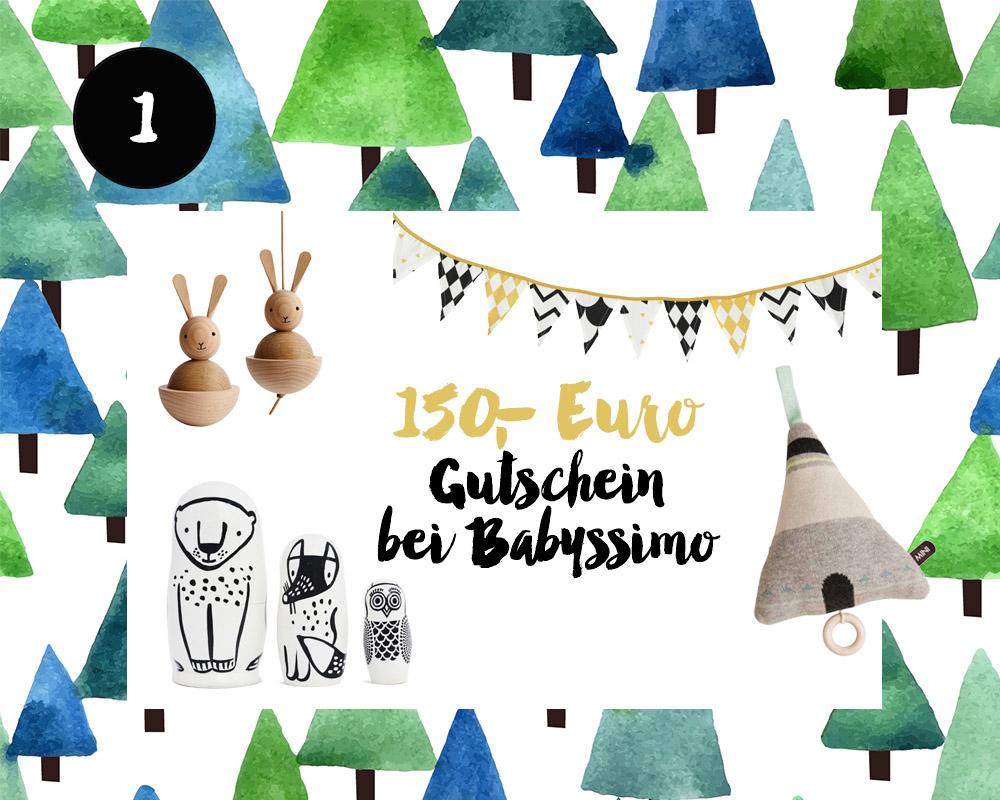 1. Türchen <br> Gewinnt einen 150 Euro Gutschein <br> von Babyssimo