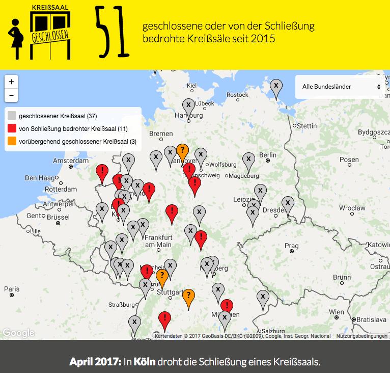 Landkarte der Kreißsaal Unterversorgung in Deutschland
