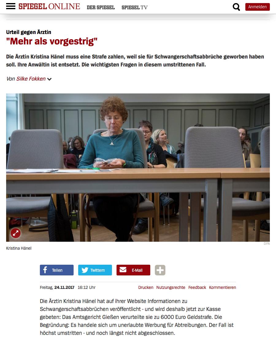 Screenshot von spiegel online zum urteil von kristina for Spiegel urteil