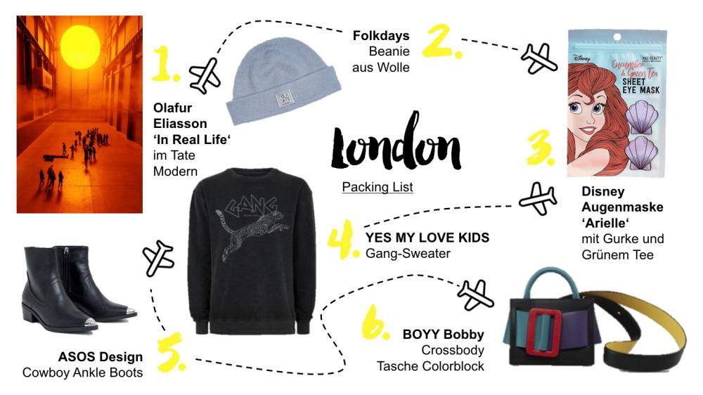 London Packing List für eine Reise nach Großbritannien